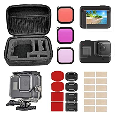 BMUUPY Accessories Kit for GoPro Hero 8 Black, Carrying Case, Waterproof Case, Tempered Glass Screen Protector, Lens Filters, Anti-Fog Inserts, Adhesive Set Bundle Mount for GoPro Hero 8 by BMUUPY