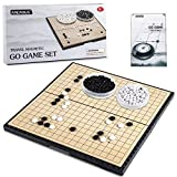 AMEROUS 11 Inches Magnetic Go Game Set (19 x 19), Travel Foldable Board Game Set with Magnetic Plastic Stones & Go Game Rules for Beginner, Kids, Adults (Weiqi)