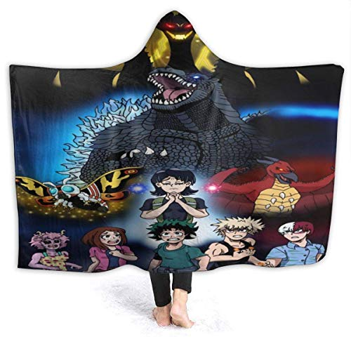 Manta con Capucha King of The Monsters My Hero Academia Godzilla Throw Blankets Sherpa Fleece Cuddle Wearable Cuddle Warm Soft Hooded Blanket for Adults M
