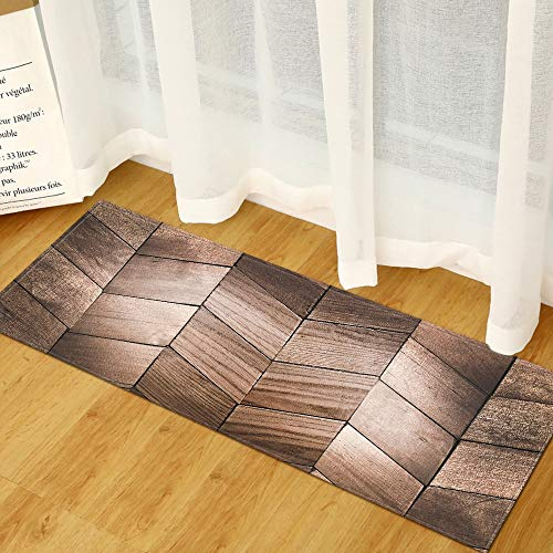 HLXX Alfombra de Cocina de Grano de Madera 3D Moderna Alfombra de Puerta de Entrada Larga casa Sala de Estar Dormitorio baño Alfombra Antideslizante A9 60x180cm