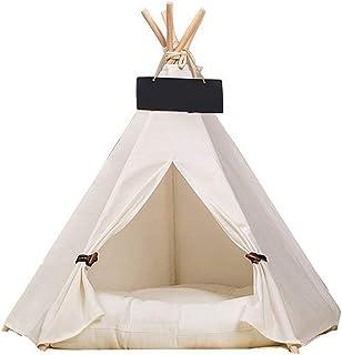 Hundhus Hundkatt Hundteepee med kudde, 4-sidigt hus Indiska tält, Träduk Tipi Fäll bort husdjurstält Små djur Säng (tält)
