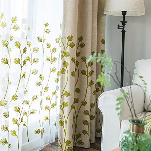 Melodieux Plant Embroidery Sheer Curtain for Living Room Bedroom, Farmhouse Style Rod Pocket Voile Drape, 1 Panel, 52 by 84 Inch, White/Green