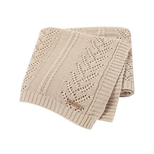 DovFanny 100% cotone, morbida coperta per neonati e bambini, colore beige