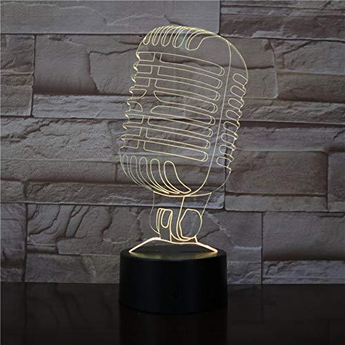 Solo 1 modelo de micrófono Lámpara de ilusión visual 3D Lámpara de noche de luz nocturna LED para café Bar Decoración Regalo de fiesta de canto