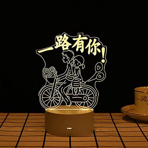 Geizland Colorido toque USB luces de noche 3D festivas regalo de cumpleaños lámpara de mesa LED monocromo luz cálida_Have You All The Way