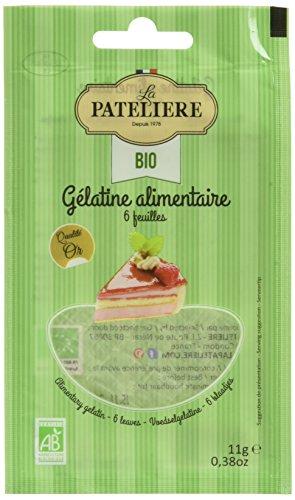 LA PATELIERE Gélatine Alimentaire Bio Sachet 6 Feuilles 11 g