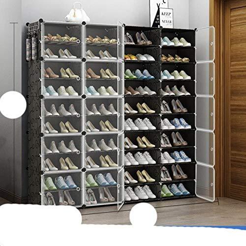 US Zapatero de gran capacidad para almacenamiento de botas de 12 cubos modulares de plástico, 6 niveles, 24 – 96 pares de zapatero, color negro, 4 x 10 niveles, Estados Unidos