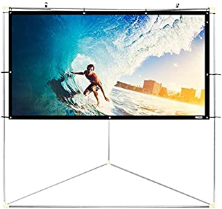 "Pyle 72"" Outdoor Portable Matt White Theater TV Projector Screen w/ Triangle Stand - 72 inch, 16:9, 1.15 Gain Full HD Projection for Movie / Cinema / Video / Film Showing outside Home - PRJTPOTS71"