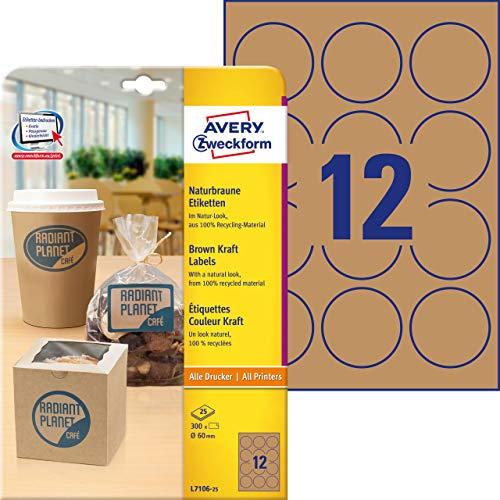 AVERY Zweckform L7106-25 Kraftpapier (zum Bedrucken, selbstklebend, Ø 60 mm, 300 runde Aufkleber auf 25 Blatt, recycling Klebepunkte zum Kennzeichnen von Produkten) Etiketten naturbraun