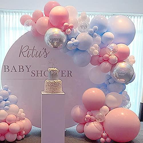 Palloncini Kit Ghirlanda Arco, Arco Palloncino Rosa Blu Baby Shower Palloncini Gender Reveal Party Decorazioni Palloncini in Lattice Metallici per Compleanno Matrimonio Feste