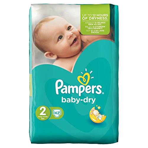 Pampers Baby-Dry - Couches de taille 2 (mini), 3-6 kg, Paquet de 42 couches