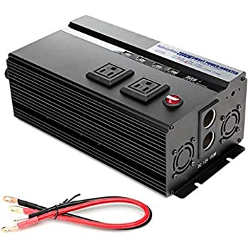 Digital Display 2000W Car Power Inverter DC 12V to AC 110V Modified Sine Wave Converter wtih 4 USB Ports & Adapters for Device Electronic Charging, 3 Year Warranty
