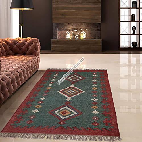 Handicraft Bazarr Alfombra de yute de 4 x 6 pies para decoración étnica del hogar, alfombra de yute tradicional de lana y alfombra de yute para habitación de niños, juego de alfombra de oficina
