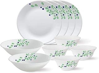 Larah by Borosil - Tiara Series, Foliage, 10 Pcs, Opalware Dinner Set, White