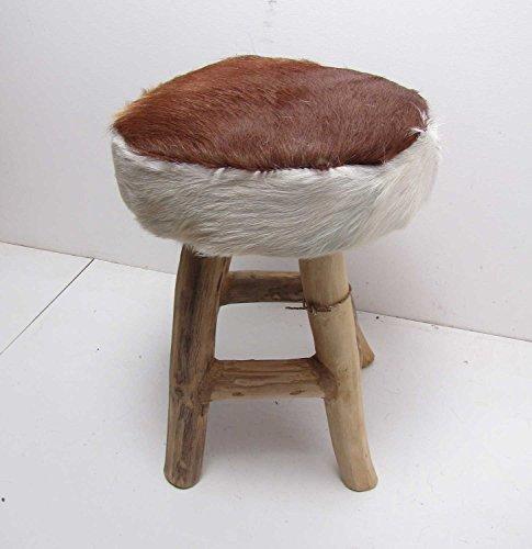 Uriger Hocker aus Holz mit Ziegenfell-Bezug braun Höhe 41 cm Fellhocker Fußhocker kleiner Hocker