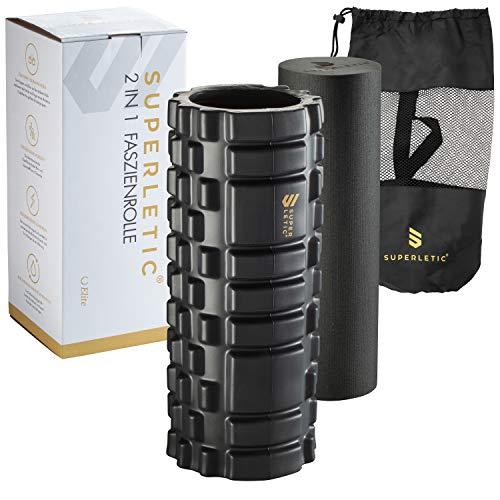 SUPERLETIC Faszienrolle Set 2In1 Elite I Massagerolle Set I Faszien Rolle mit Massagenoppen für Wirbelsäule, Rücken, Beine I Pilatesrolle