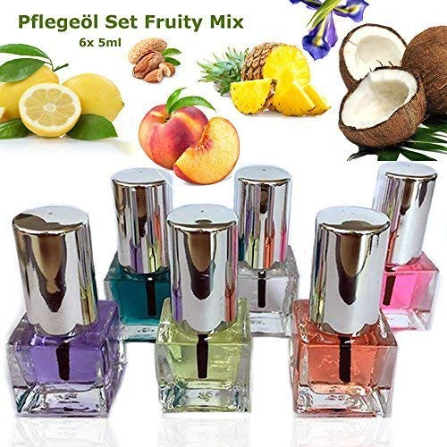 EuBeCos Nagel Pflegeöl Set Fruity Mix 6 x 5ml ANGENEHM FRUCHTIG UND VEGAN - MADE IN GERMANY!