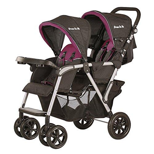 Dream On Me Villa Tandem Stroller, Black and Raspberry Pink