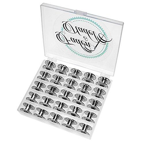 Faden & Nadel 25 Leere Metallspulen für die Nähmaschine/Nähmaschinenspulen aus Metall in transparenter Spulenbox