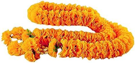 wonderflowers Artificial Big Size Yellow Marigold Garland 1.20 meter for Make A Wish