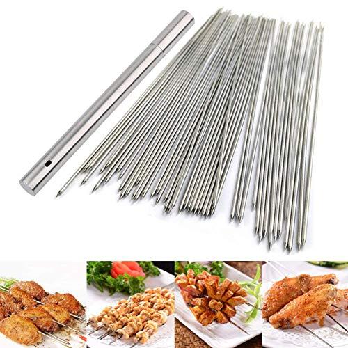 BigOtters Barbecue Skewers, 100PCS Skewers for Grilling Stainless Steel Skewers BBQ Needle Sticks Metal Skewers for Meat Shrimp Chicken Vegetable Outdoor Cooking