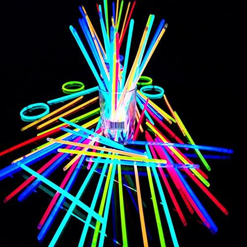 LERDBT Glow Sticks, 100 varillas de neón con conectores para hacer pulseras de neón, collares, gafas de ojo y bolas para suministros de fiesta. Combinación aleatoria de varios colores
