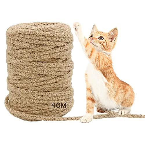 MEISHANG 40 m Seil für Katzenbaum,Katzen Kratz Seil,Sisal Schnur,Sisal Kratzbaum Ersatz für,Katzen,Kratzbaum,Kratzseil,Haushalt,Garten,DIY,Dekoration