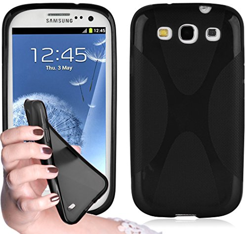 Cadorabo Hülle kompatibel mit Samsung Galaxy S3 / S3 NEO Hülle in Oxid SCHWARZ Handyhülle aus flexiblem TPU Silikon im X-Line Silikon Schutzhülle