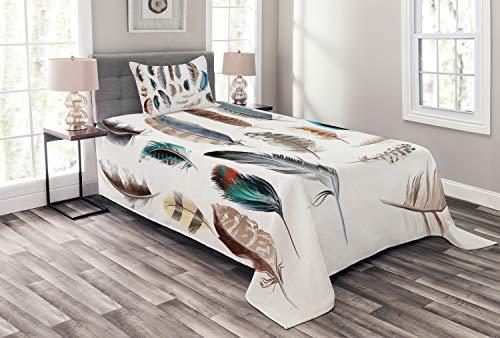 ABAKUHAUS Plumas Cubrecama, Oeste Arreglo Plumas de Pájaros Pigmentadas Crecimiento Naturaleza Diseño Artístico, Lavable Colores No Destiñen, 170 x 220 cm, Multicolor