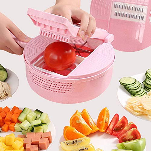 HAOXIANG Multifunction Vegetable Cutter Mandoline Slicer - Julienne Grater and Chopper with Drain Basket - Best Veggie Cheese Shredder with Fruit Peeler