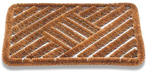 Matches21 Felpudo Felpudo Kokos de fibra de coco, rejilla de alambre, diseño de cuadros, para exteriores, 50 x 80 cm
