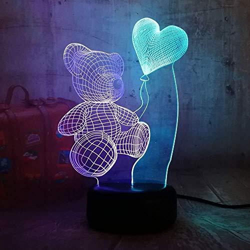 3D Lámpara de LED Luces nocturnas Osito de peluche corazón mixto gemelos regalo de cumpleaños para jóvenes, niñas Con carga USB, control táctil de cambio de color colorido