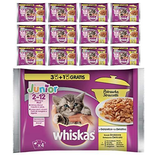 Whiskas Casserole Comida Húmeda para Gatos Junior Selección Aves, Multipack (13 cajas x 4 sobres x 85g) ✅