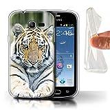Coque pour Samsung Galaxy Trend Lite/S7390 Grands Félins Sauvages Tigre Sibérie/Amour Désign Transparent Doux Silicone Gel/TPU...
