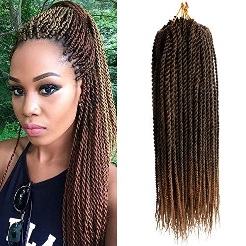 (6Packs,45.7cm) DakTou Senegalese Twist Crochet Braids Hair Extensions Synthetic Braiding Small Havana Mambo 2X Twist Braids High Temperature Fiber hair 30Stands/Pack (T27#)