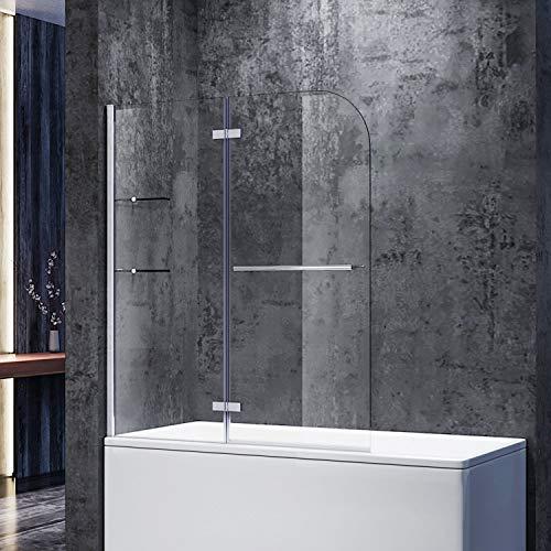 SONNI Duschabtrennung 120x140cm (BxH) mit Handtuchhalter + Eckregal,6mm NANO-Klarglas Duschwand für Badewanne Badewannenaufsatz, Duschtrennwand