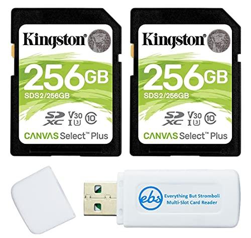 Cartão de memória SD Kingston Canvas Select Plus 256 GB para câmera (pacote com 2) Cartão SDXC Classe 10 UHS-1 U3 100 MB/s Velocidade de leitura (SDS2/256GB) Pacote com (1) Leitor de cartão SD e Micro da Stromboli