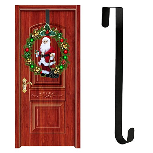 Christmas Door Hanging Ornaments, Christmas Wreath Hanger Ornaments Door Hanging Hook Metal Wreath Front Door Hanger (A)