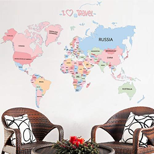 SeniorMar-UK Kinder Schlafzimmer DIY Wandaufkleber Weltkarte Home Schlafzimmer Zimmer Dekor Abnehmbare Wandtattoo Große Poster Dekoration