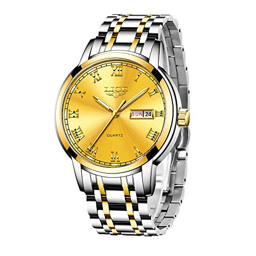 LIGE Relojes para Hombre Relojes Cuarzo Moda Prueba de Agua Calendario Negocios Reloj de Acero Inoxidable para Hombres