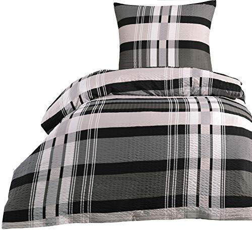 Leonado Vicenti Bettwäsche 135x200 Mikrofaser Seersucker Garnitur Set Kissen Decken Bezug mit Reißverschluss, Farbe:Anthrazit