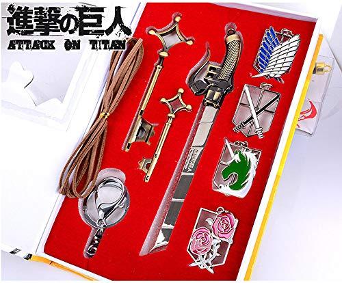 Memory meteor Attack on Titan Sword Cosplay Shingeki No Kyojin Eren Jaeger Key Pendant Necklace Katana Badge Set