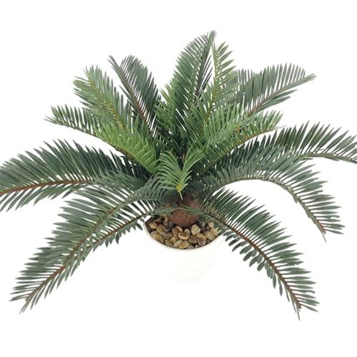 Palmera Artificial Tropical Plantas Cycas Falsas Grandes Hojas de Palma de plástico ramificadas Plantas en macetas para la decoración de la Oficina en casa