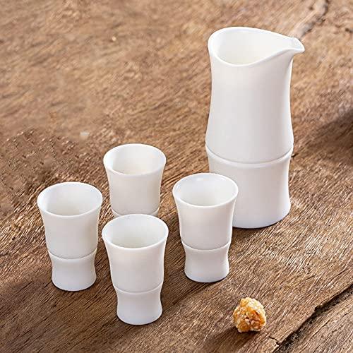 MISS KANG Juego de ollas japonesas con bolsa de almacenamiento, forma de bambú, porcelana cerámica cerámica artesanía, copas de vino, 4 tazas Qingchunw (tamaño: 4 tazas)