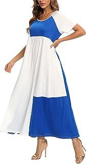 FridayIn Women's A-Line Short Sleeve Summer Splicing Scoop Neck Fashion T-Shirt Loose Dress