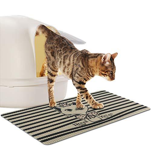 FREESOO Estera de Arena para Gatos Impermeable Alfombrilla Alfombra de Basura Rascadores Cat Litter Mat Litter Trapping Doble Capa no Tóxico Antideslizante 77 * 47cm