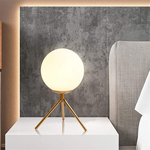 BAYCHEER Modern 1 Bulb Industrail Glass Globe Metal Table Lamp, Reading Book Light with Ball White Glass Shade Nightstand Bedside Desk Lamp for Bedroom Living Room Office,Gold