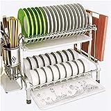 JXLBB - Escurridor de cocina de 2 capas, escurridor de platos multifunción grande con cubertería/cuchillo/soporte para tabla de cortar y 5 ganchos