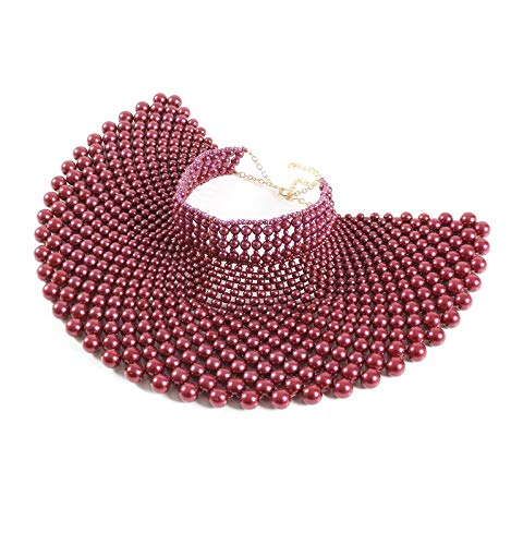 Fine Fashion Handmade Beaded Bib Egyptian Pearl Necklace Collar Women Dress Statement Choker Accessories (Wine Red)