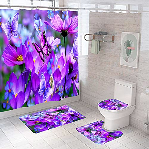 XVWJ Purple Rose Shower Curtain Sets with Rugs High-Coloured HD Printing Flower Bath Curtain with Non-Slip Rug,Toilet Lid Cover and Barh Mat Beautiful Purple Butterfly Bathroom Set